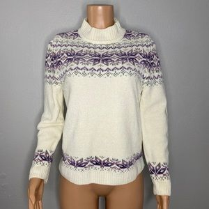 Alfred Dunner Snowflake Smock Neck Sweater Size PM